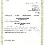 """Сертификат прохождения курсов повышения квалификации на базе Ганноверского университета ветеринарной медицины (Stiftung Tierärztliche Hochschule Hannover) по направлению """"Диагностика заболеваний мелких домашних животных с применением метода компьютерной томографии (КТ)"""", а так же """"Диагностика заболеваний мелких домашних животных с применением метода магнитно-резонансной томографии (МРТ)"""", 2008 г."""
